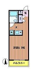 東京都日野市旭が丘5丁目の賃貸マンションの間取り