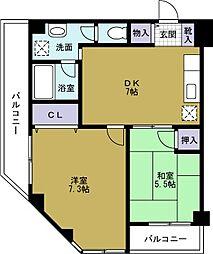サンシティ本田[7階]の間取り