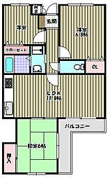 大阪府河内長野市古野町の賃貸マンションの間取り