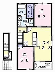 千葉県市原市国分寺台中央4丁目の賃貸アパートの間取り