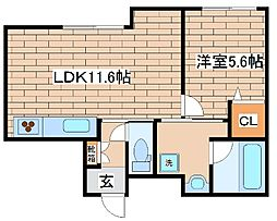 阪急神戸本線 六甲駅 徒歩3分の賃貸マンション 1階1LDKの間取り