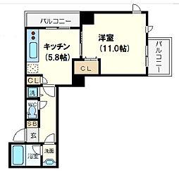 ベルファース大阪新町 6階1DKの間取り