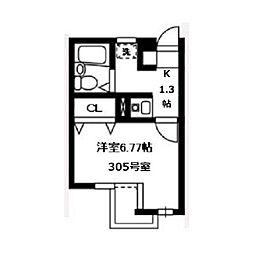 武蔵野フラッツ[305号室]の間取り