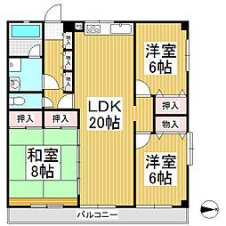 コーポアルカディア(千曲)[1階]の間取り