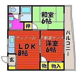 岡山県岡山市中区関の賃貸マンションの間取り