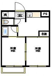 コリアンテ上篠崎[2階]の間取り