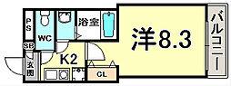 神戸・山手アパートメント 1階1Kの間取り