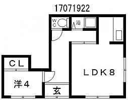大阪府大阪市東住吉区照ケ丘矢田2丁目の賃貸アパートの間取り