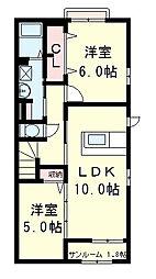 滋賀県近江八幡市土田町の賃貸アパートの間取り