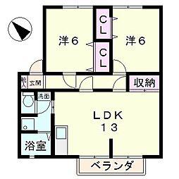 滋賀県草津市追分8丁目の賃貸アパートの間取り