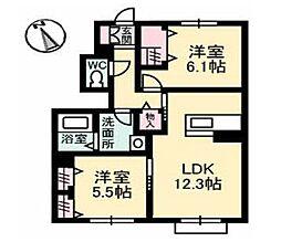 広島県福山市川口町3丁目の賃貸アパートの間取り