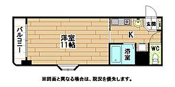 福岡県北九州市小倉北区黄金2丁目の賃貸マンションの間取り