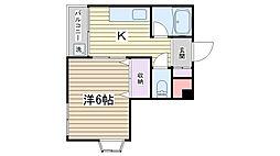 ラ・ファミーユ山崎[401号室]の間取り