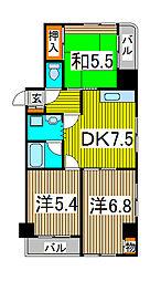 新田第9ビル[6階]の間取り
