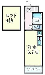 JR東海道・山陽本線 三ノ宮駅 徒歩10分の賃貸マンション 3階ワンルームの間取り