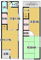 京阪本線 京橋駅 徒歩9分の賃貸一戸建て 3DKの間取り