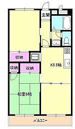 東京都日野市石田1丁目の賃貸マンションの間取り