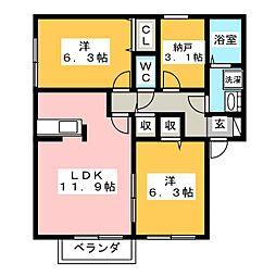 試験場前ハウスI[2階]の間取り