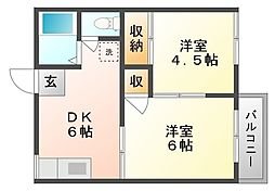 岡山県岡山市北区撫川の賃貸アパートの間取り