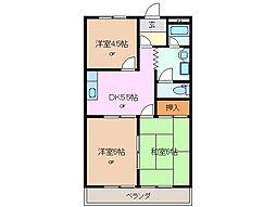 三重県四日市市中川原3丁目の賃貸マンションの間取り