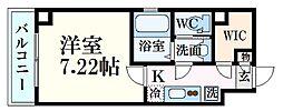 広島電鉄5系統 段原一丁目駅 徒歩17分の賃貸マンション 2階1Kの間取り