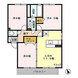 アバンサードB[2階]の間取り