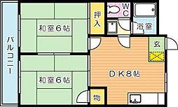 シャトレ大浦V[2階]の間取り