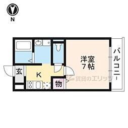 京都地下鉄東西線 太秦天神川駅 徒歩5分の賃貸マンション 3階1Kの間取り