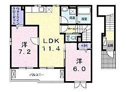 ベルソレイユ 2階2LDKの間取り