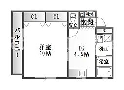 徳島県徳島市東吉野町1丁目の賃貸マンションの間取り