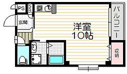 Osaka Metro谷町線 守口駅 徒歩8分の賃貸マンション 2階ワンルームの間取り