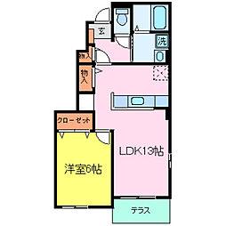 兵庫県小野市黒川町字物見ヶ岬の賃貸アパートの間取り