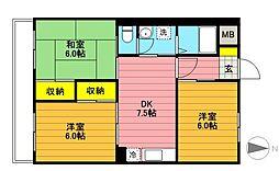 東財パステルメゾン昭島Ⅱ[2階]の間取り