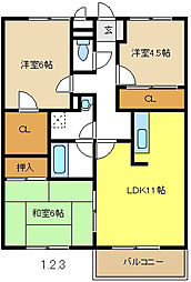 愛知県名古屋市千種区鹿子町3丁目の賃貸アパートの間取り