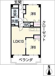 VINTAGECOURT紫陽花[1階]の間取り
