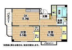 福岡県北九州市小倉南区中曽根東1丁目の賃貸マンションの間取り