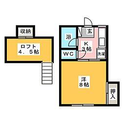 宮城県仙台市青葉区中山5丁目の賃貸アパートの間取り