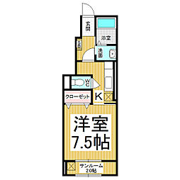 長野県長野市若里7丁目の賃貸アパートの間取り