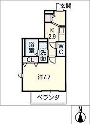 メゾン加納栄町通E 2階1Kの間取り