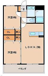 宮崎県宮崎市大字赤江の賃貸アパートの間取り