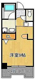 グランドメゾン小倉駅東 4階ワンルームの間取り