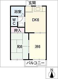 西津第1コーポ[2階]の間取り
