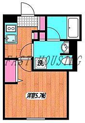 小田急小田原線 南新宿駅 徒歩4分の賃貸マンション 1階1Kの間取り
