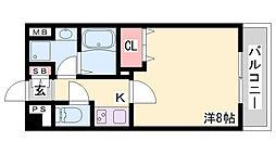 リアライズ神戸WEST 2階1Kの間取り