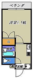 ソレイユA[4階]の間取り