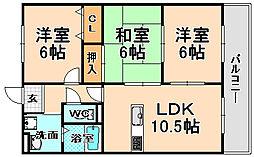 兵庫県伊丹市御願塚2丁目の賃貸マンションの間取り