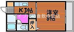 岡山県倉敷市川西町の賃貸アパートの間取り