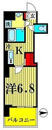 都営新宿線 菊川駅 徒歩6分の賃貸マンション 2階1Kの間取り