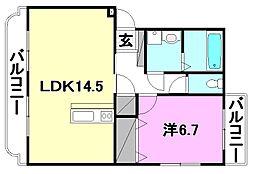 アバンティーI 2階1LDKの間取り