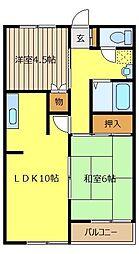 埼玉県川越市仙波町1丁目の賃貸アパートの間取り